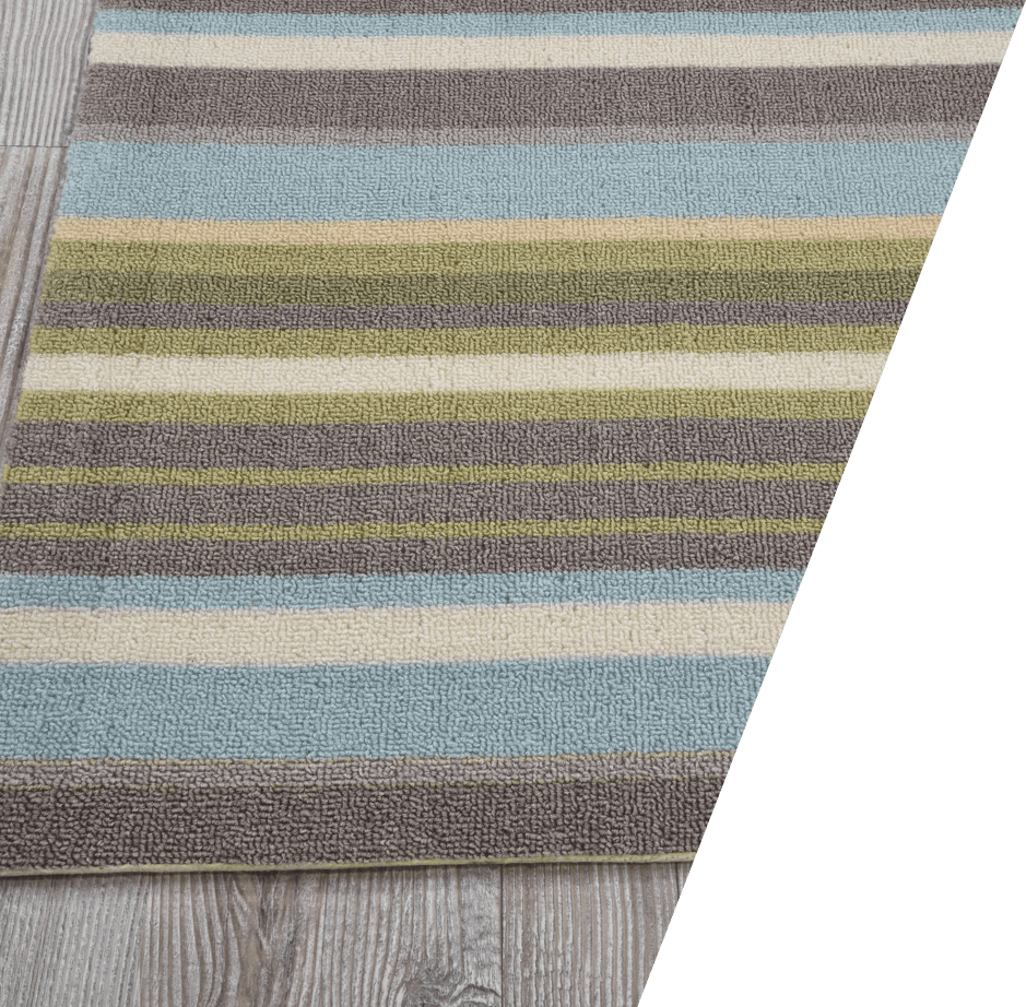 A dark blue and light blue striped rug