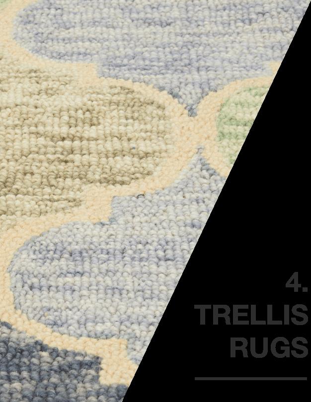 A white and blue tellis rug