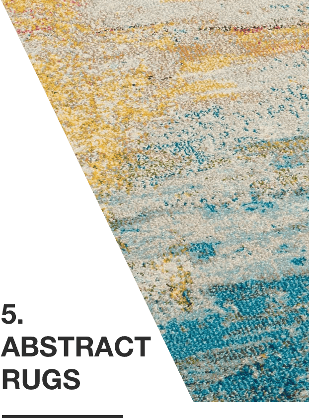 Shades of blue and white abstract rug