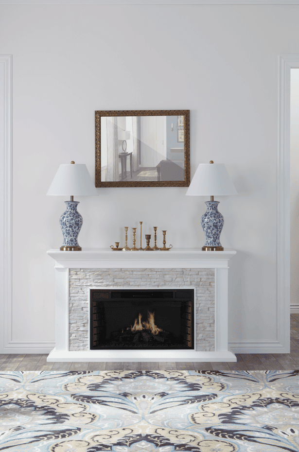 New traditional style living room with fire place