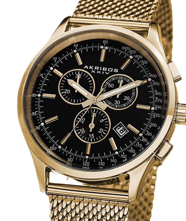 A gold Akribos chronograph watch