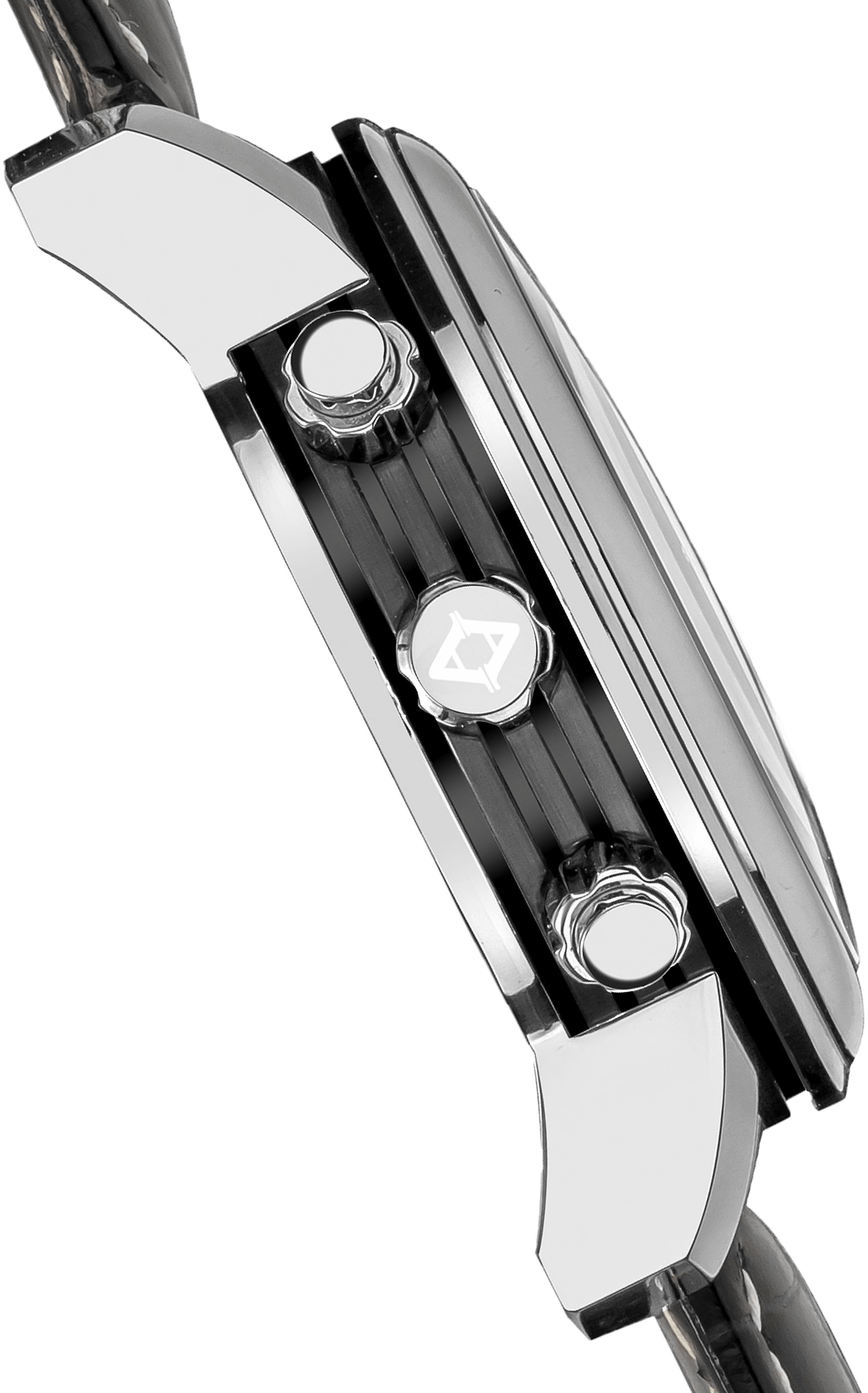 A side profile view of a chronograph watch