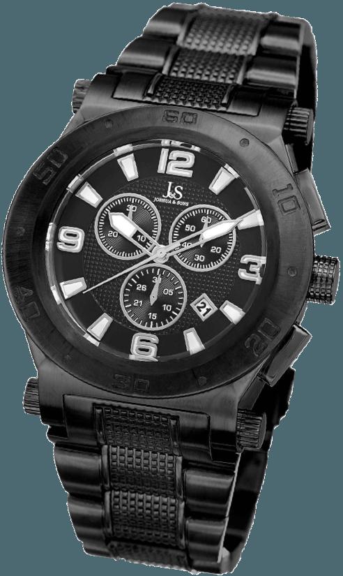 A black chronograph watch
