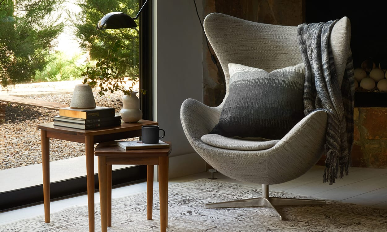 Contemporary style chair in a living room, this is a very popular interior design style