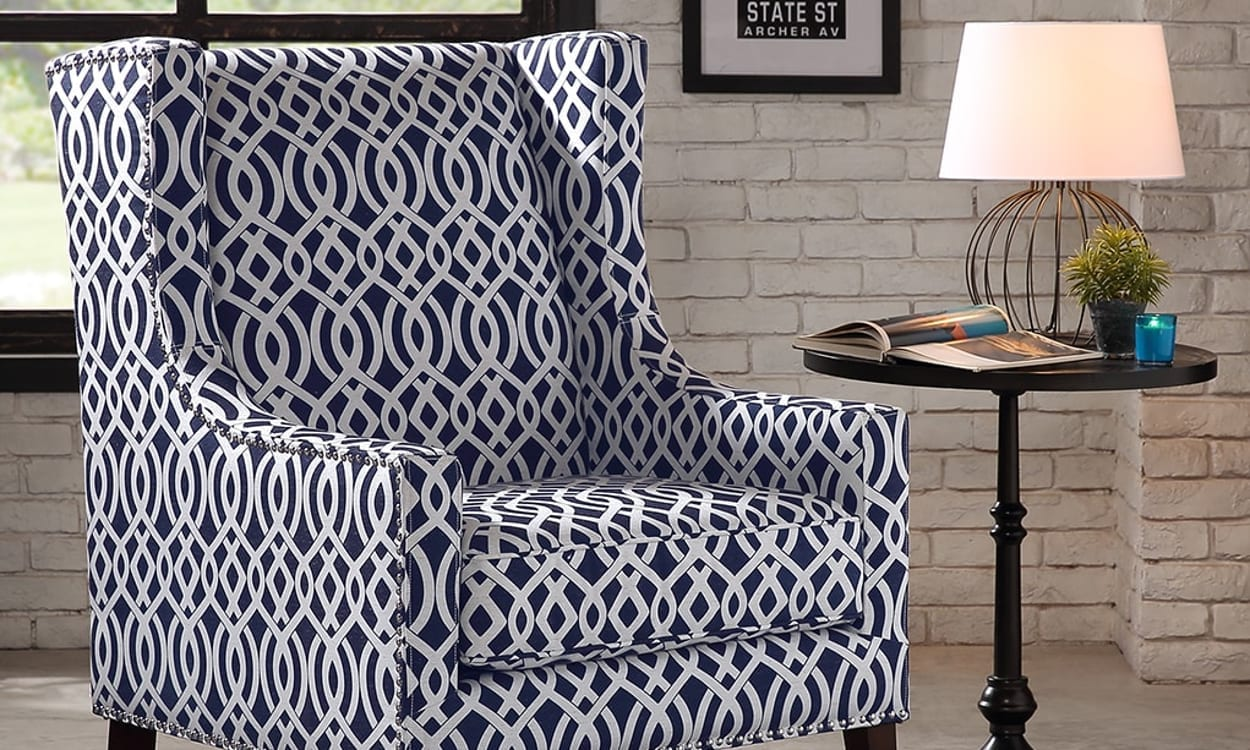 Bold print accent chair for a statement piece, the fourth step in becoming your own interior designer