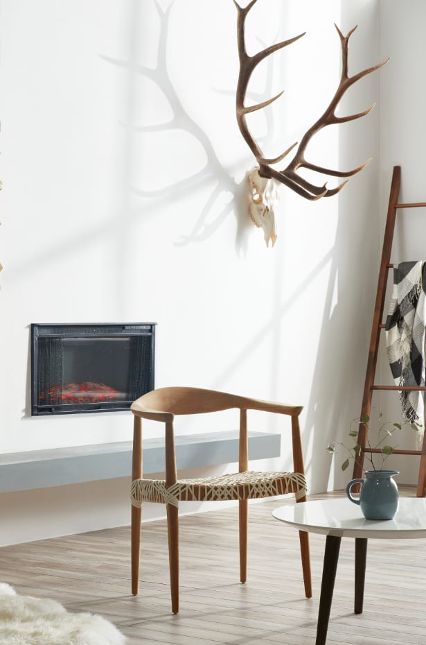 Antlers above fireplace