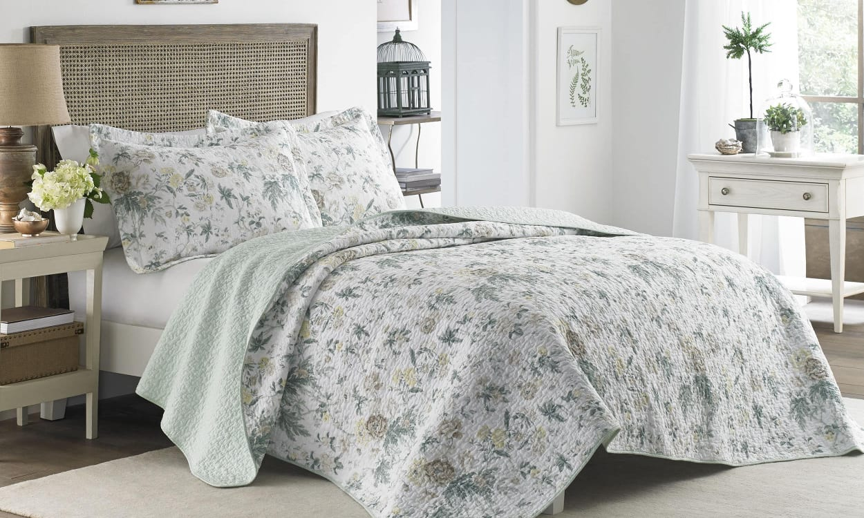 English cottage bedroom with floral bedding