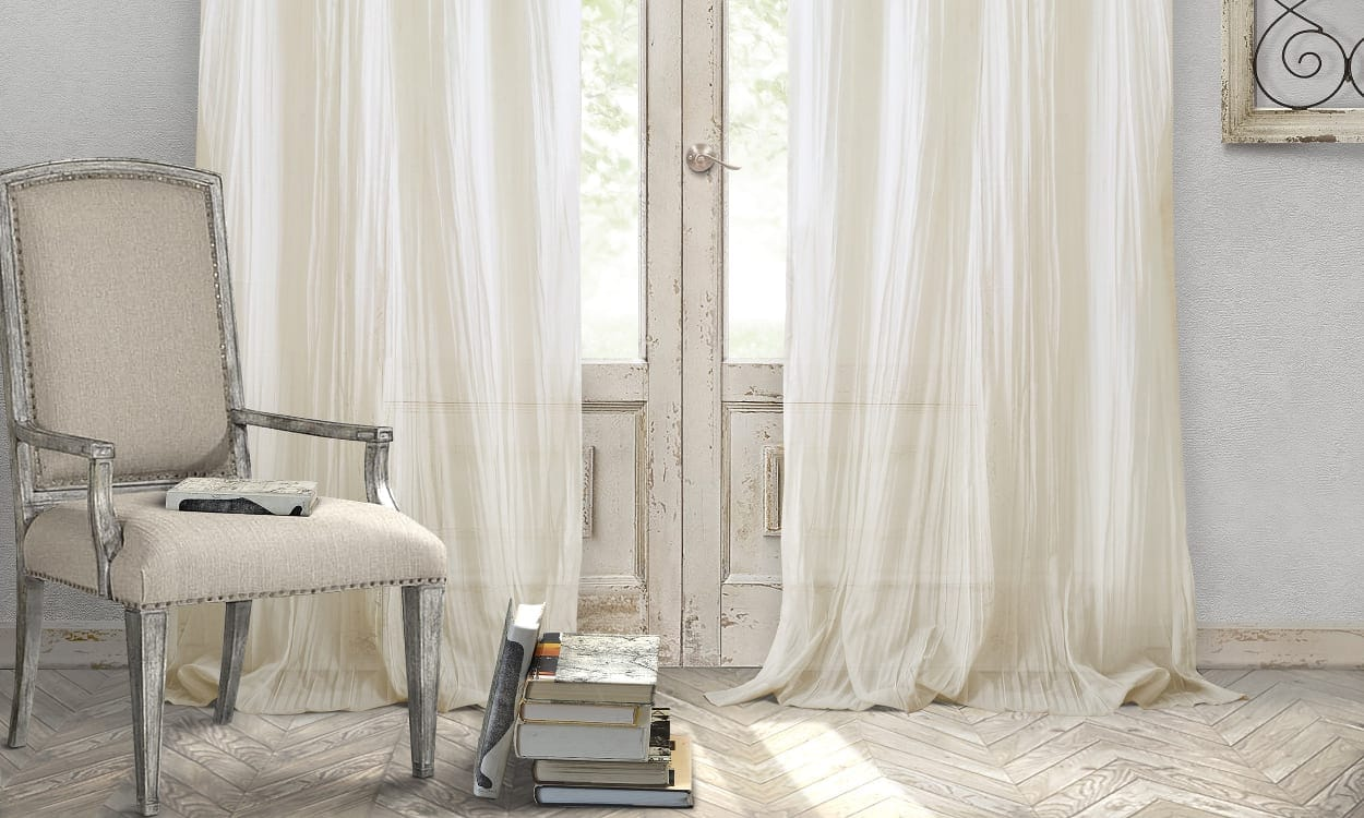 English cottage drapes and chair