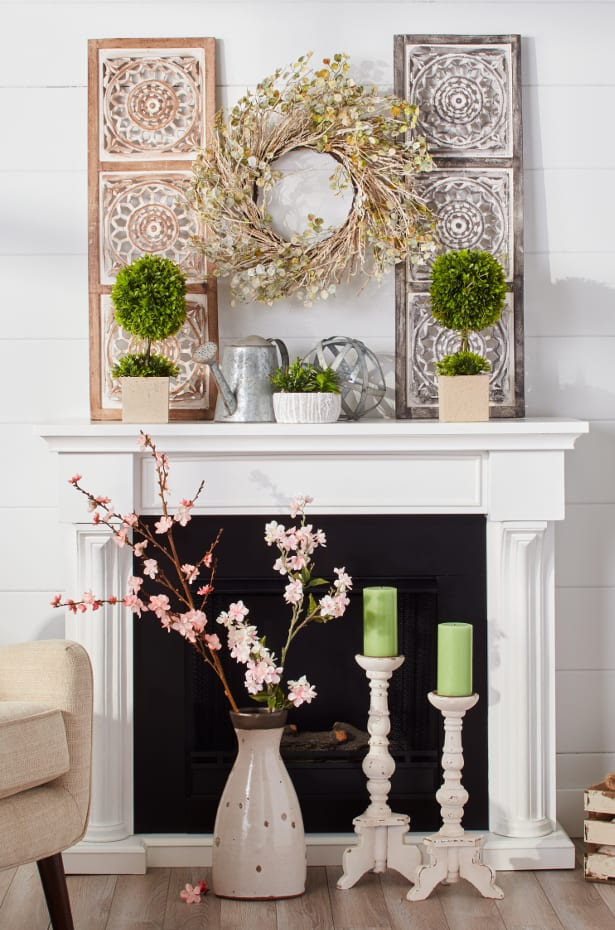 Plants & flowers above fireplace