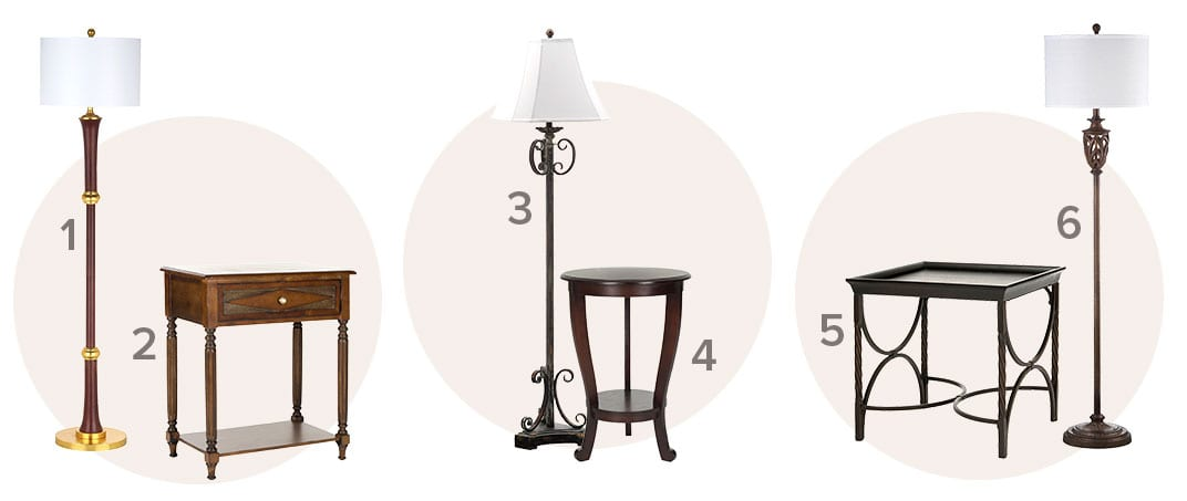 The perfect pair of traditional floor lamps and end tables