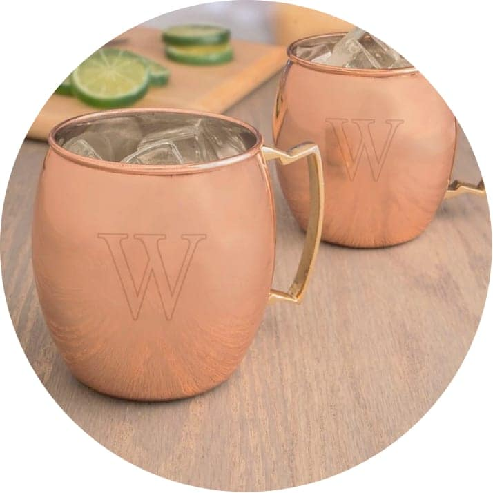 A set of personalized copper mugs, the perfect gift for Christmas