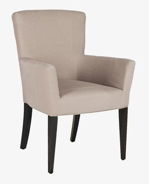 Upholstered arm chair, a type of dining chair