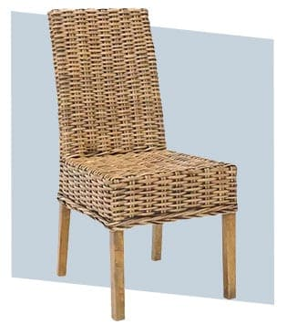 Coastal wicker style dining chair