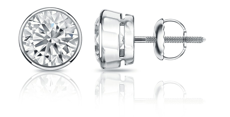 Bezel setting diamond stud earrings