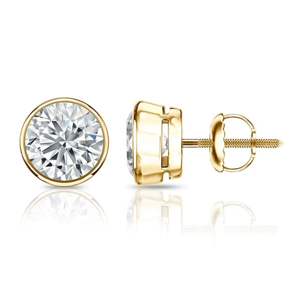 Gold bezel diamond stud earrings