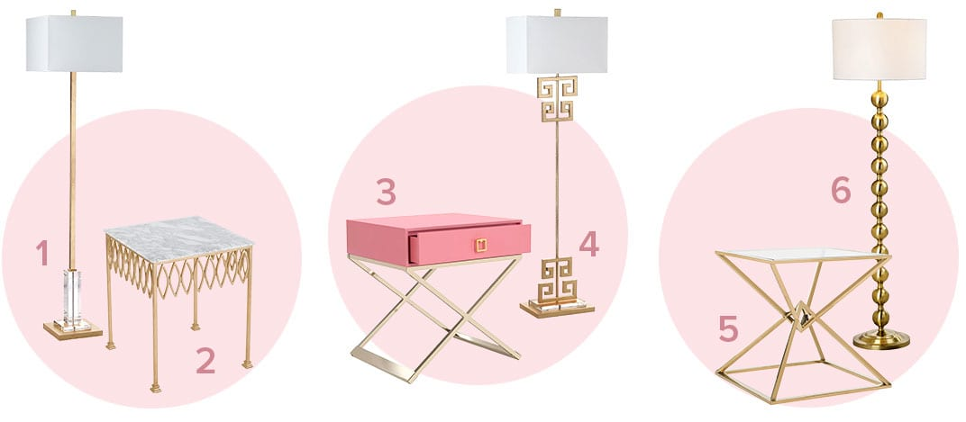 The perfect pair of glam floor lamps and end tables
