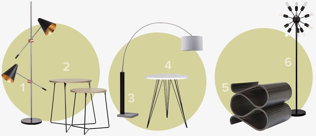 The perfect pair of Mid-Century modern floor lamps and end tables