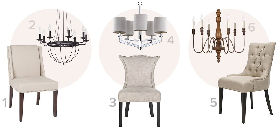 The perfect pair of traditional  ceiling lights and dining chairs