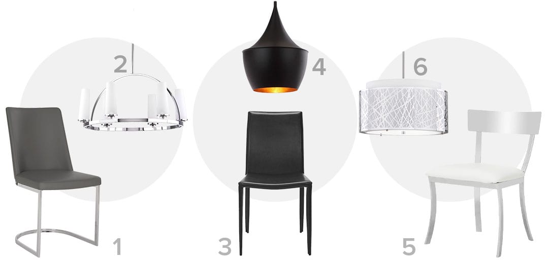 The perfect pair of Modern ceiling lights and dining chairs