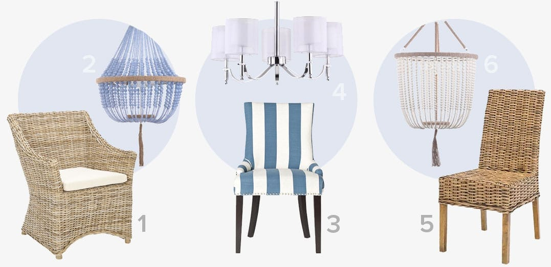 The perfect pair of  coastal ceiling lights and dining chairs
