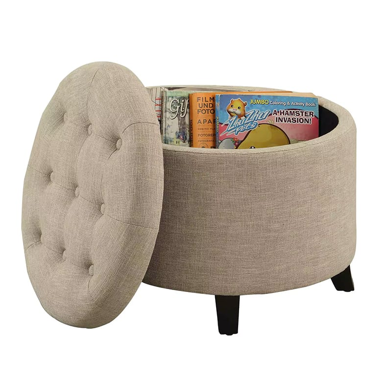 A storage ottoman- an essential for a reading nook