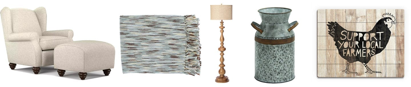 A collage of farmhouse items that would be perfect in a farmhouse reading nook