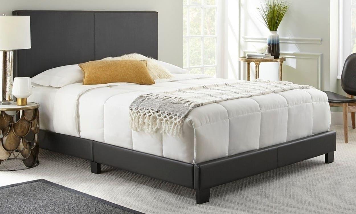 Black platform king-size bed