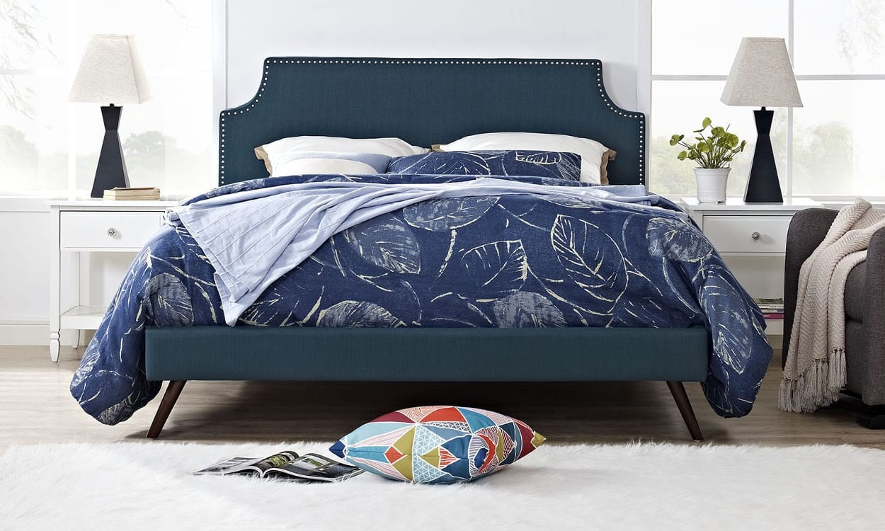 Blue king-size bed