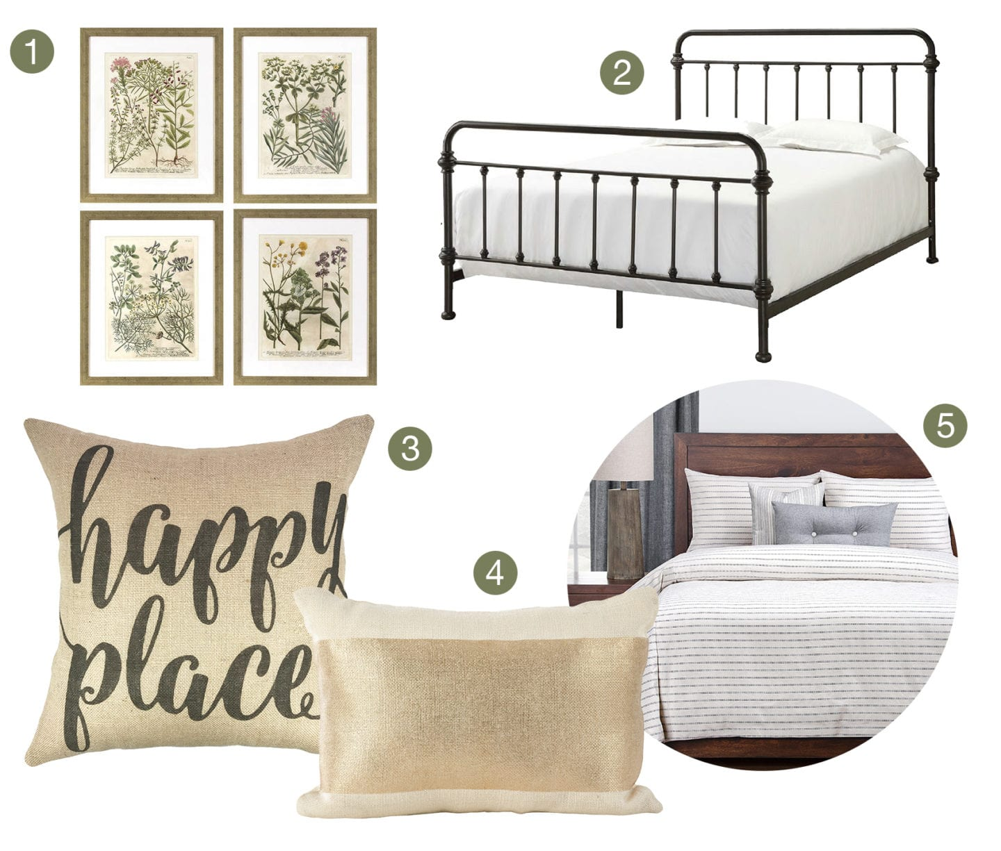Collage of farmhouse style bedding and furniture