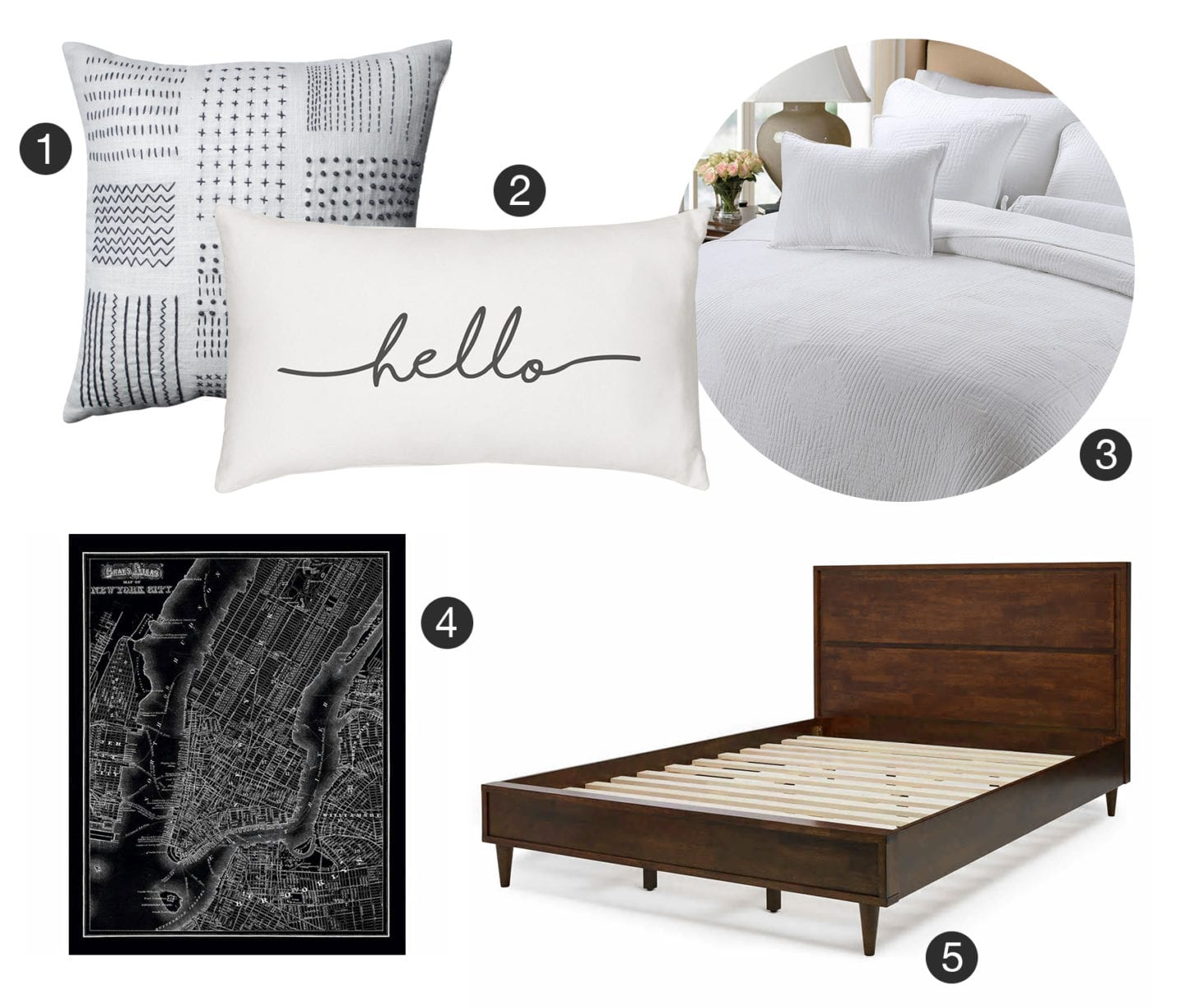 Collage of modern bedroom product and bedding