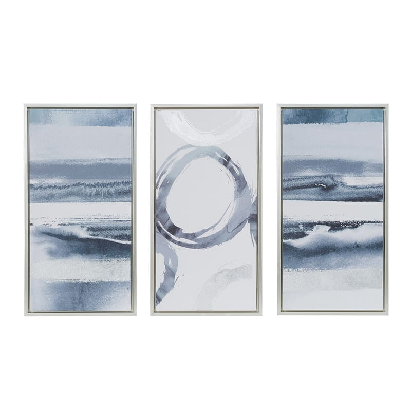 White and blue modern wall art