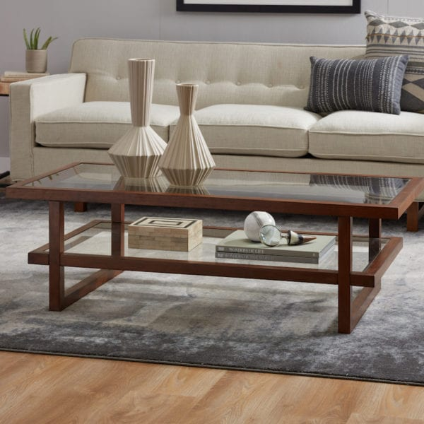 Low profile decor on two-tier coffee table