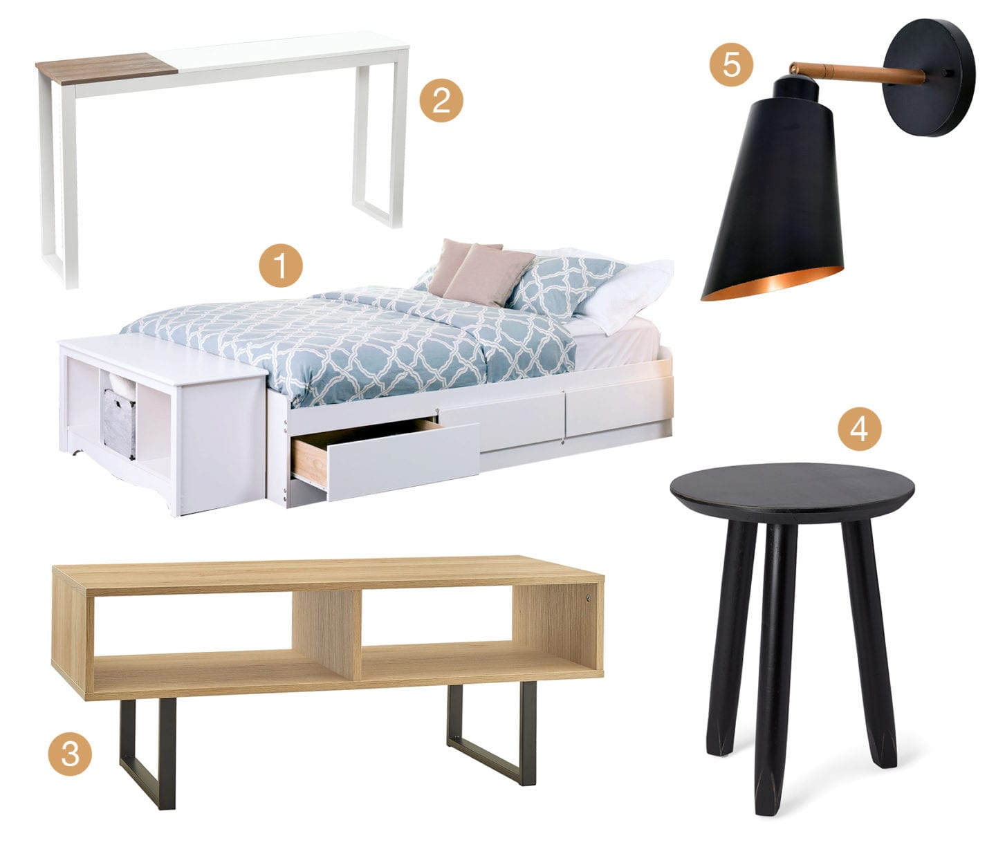 Collage of Minimalist style bedroom furniture and decor.
