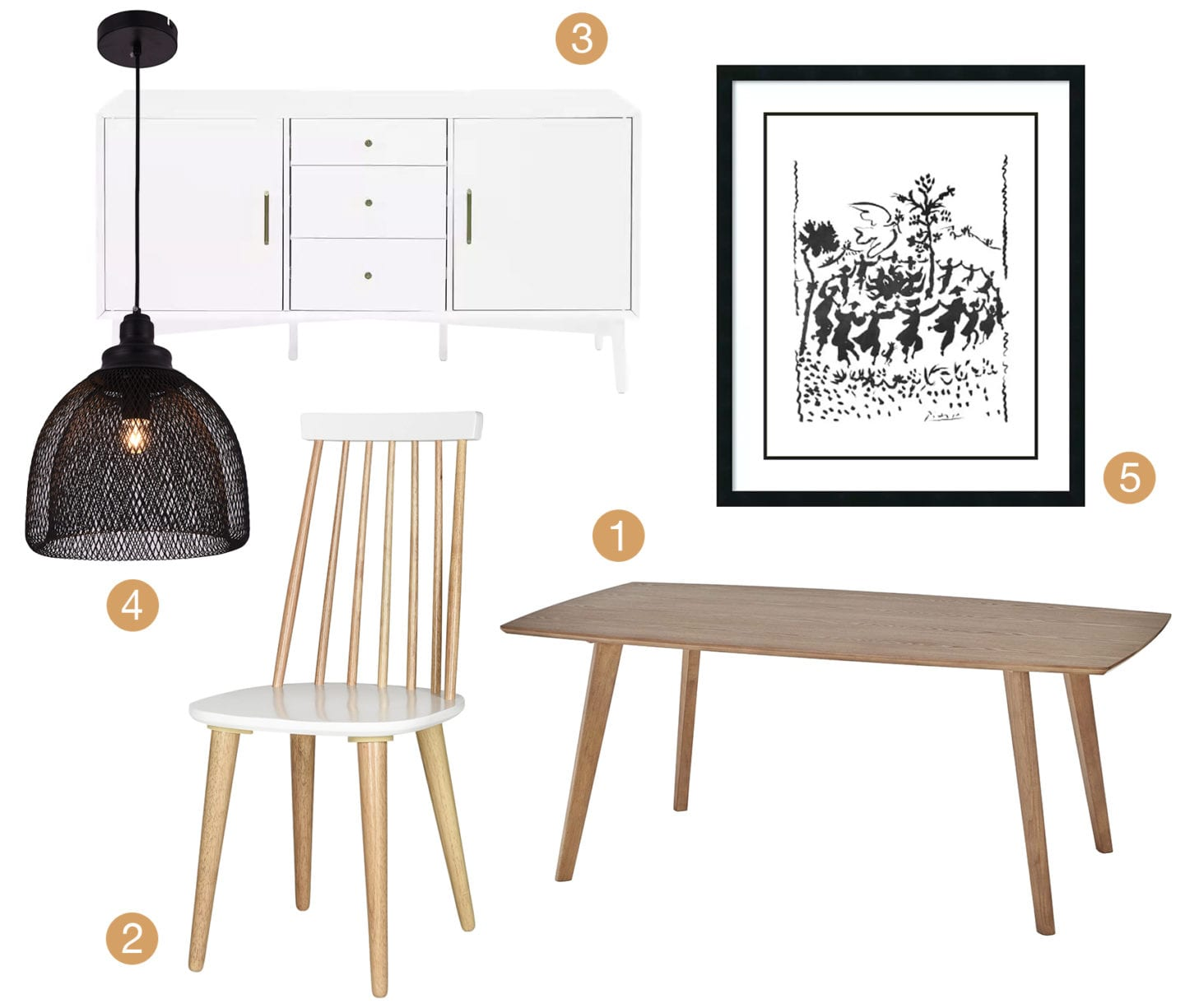 Collage of Minimalist style dining furniture and decor.