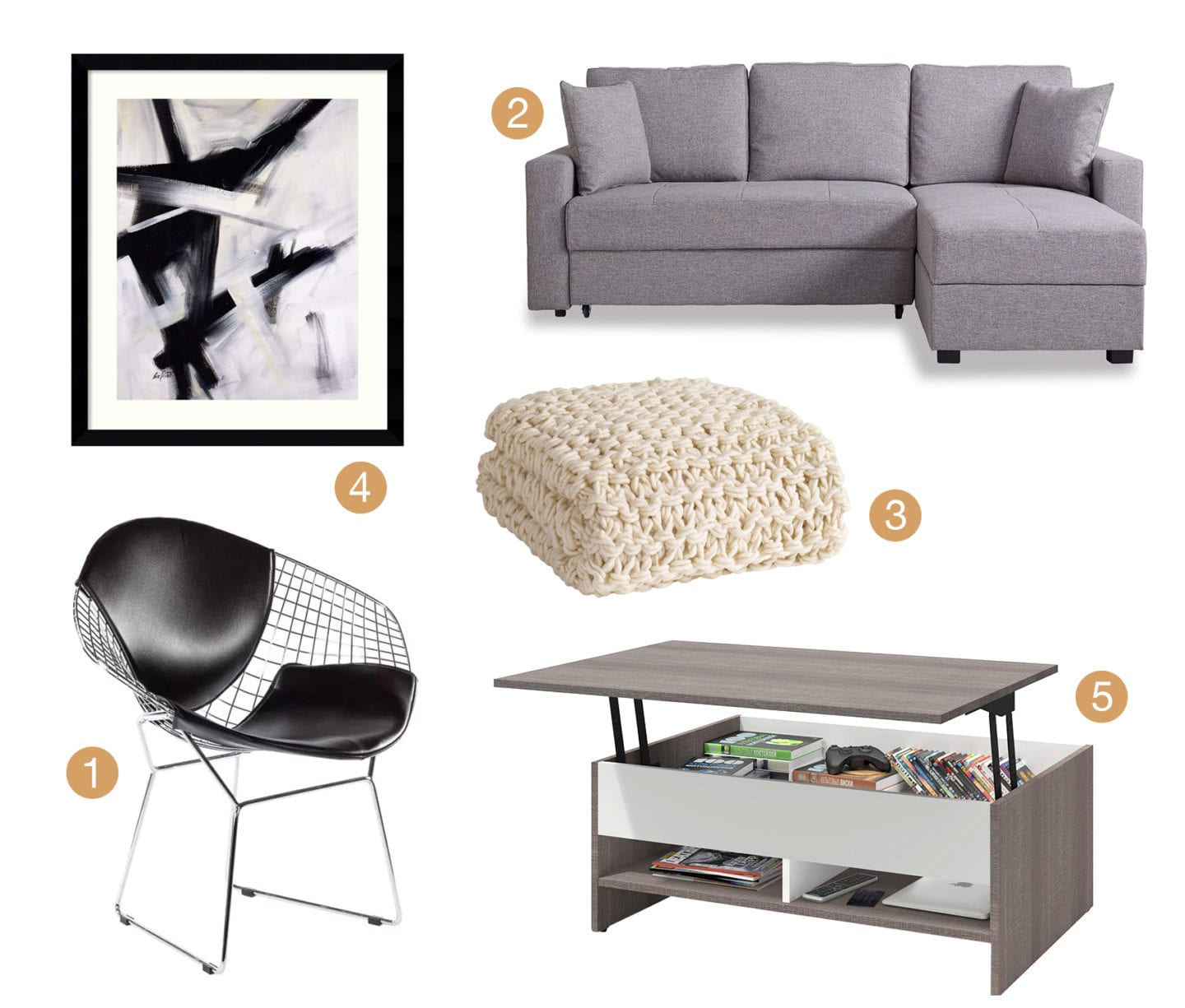 Collage of Minimalist style living room furniture and decor.
