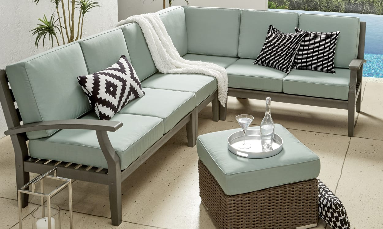 Outdoor Patio Sofa With Aqua Cushions For Small Es