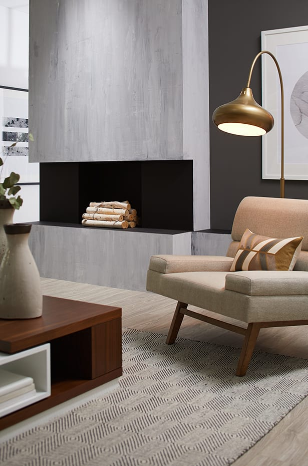 Two images showing a contemporary living room