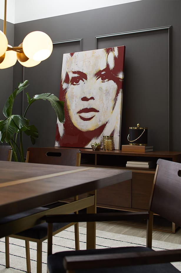 Two images showing a contemporary dining room