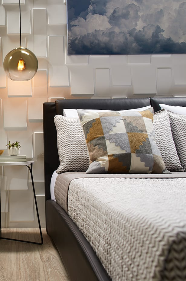 Two images showing a contemporary bedroom