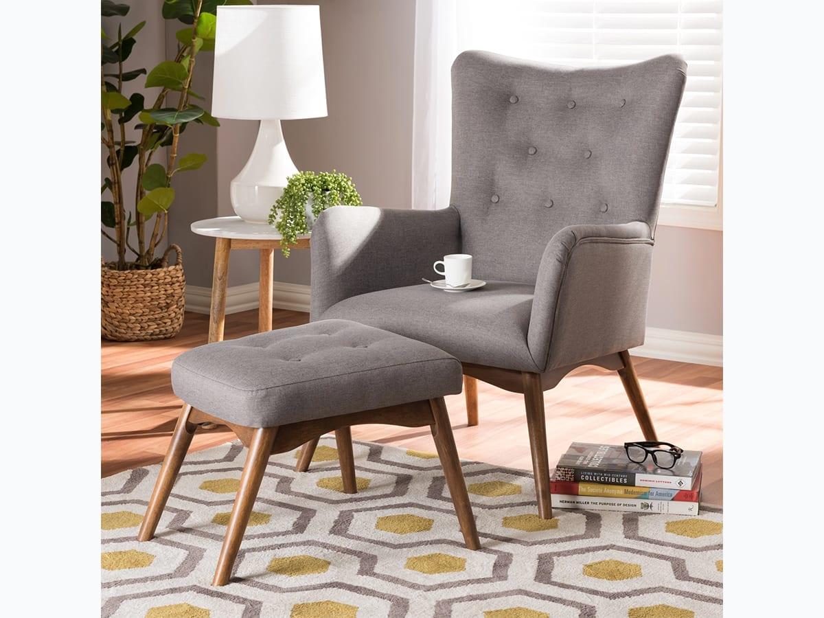Grey Mid-Century lounge chair