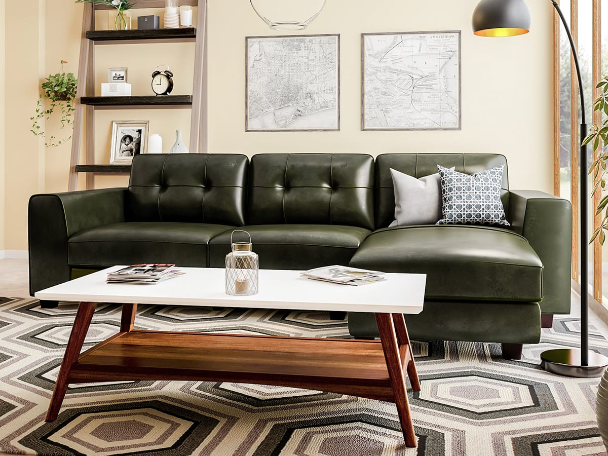 Geometric are rug in living room
