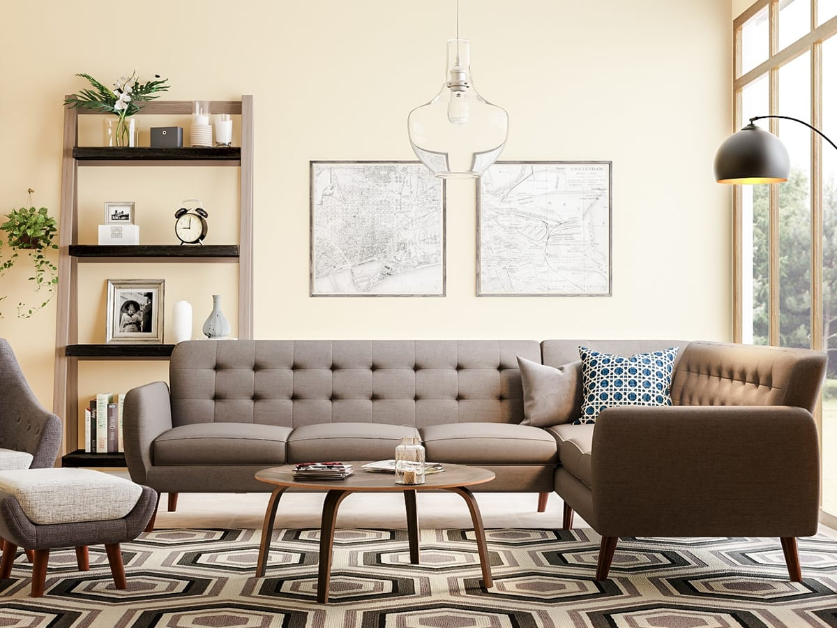 Awesome Neutral Colored Mid Century Modern Living Room