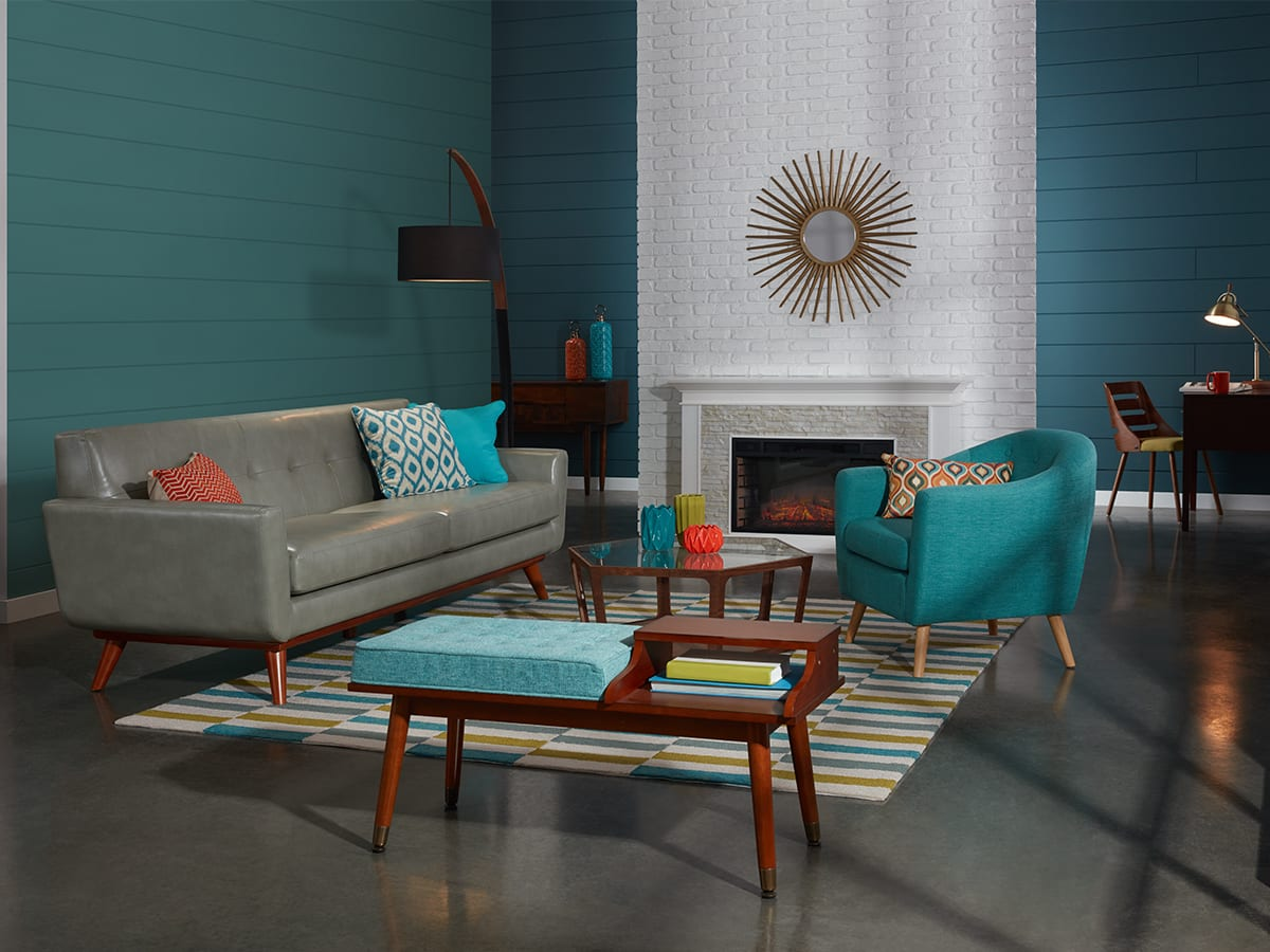 Bold colored Mid-Century Modern living room
