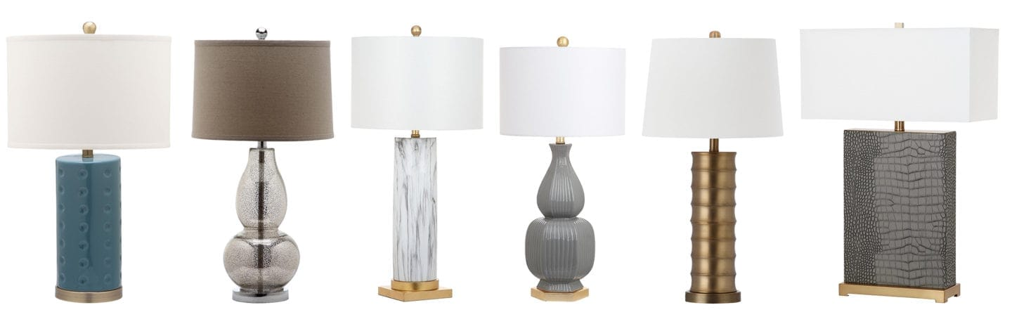 Assortment of different style table lamps.