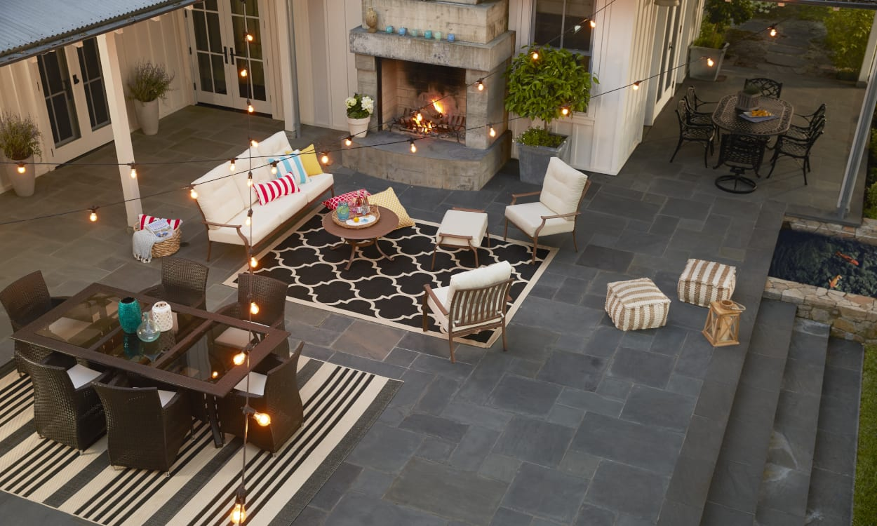 Patio with sectioned spaces. Patio Decorating Ideas