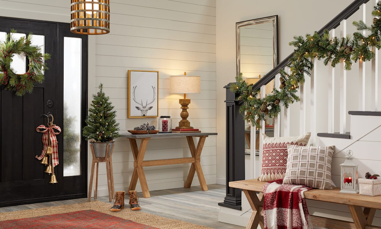 Entryway Decorated for in a Farmhouse Christmas Style