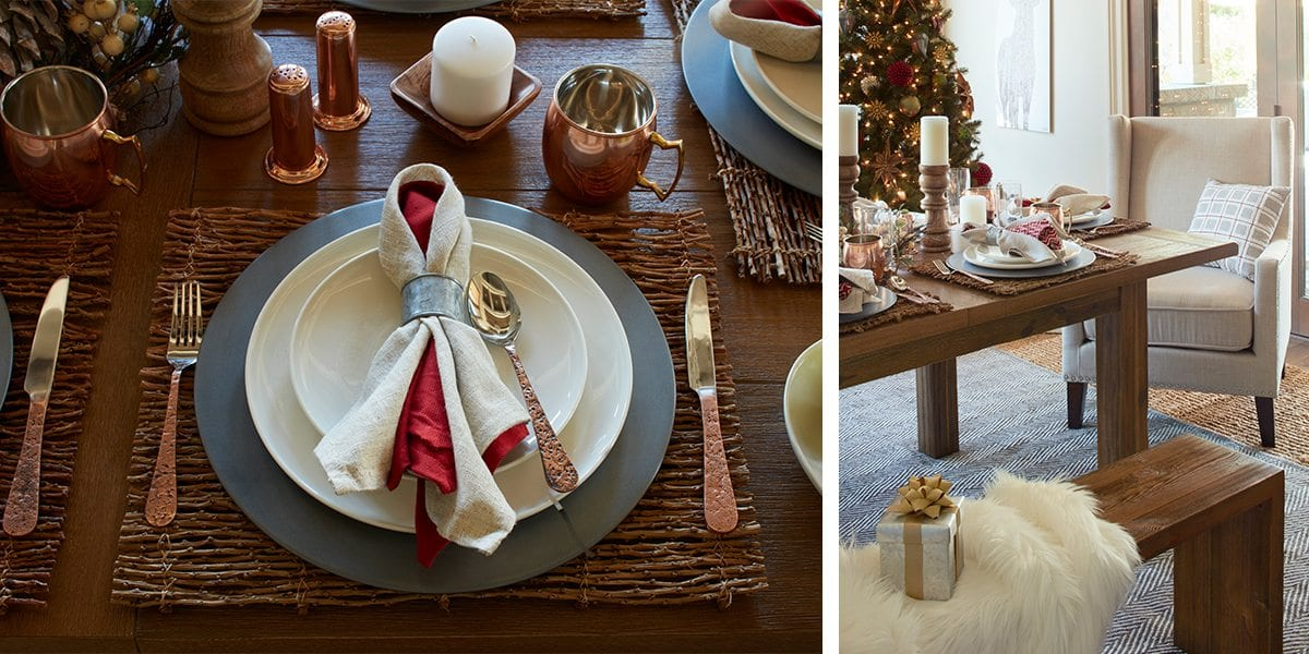 Dining Table Decorated in a Country Christmas Style