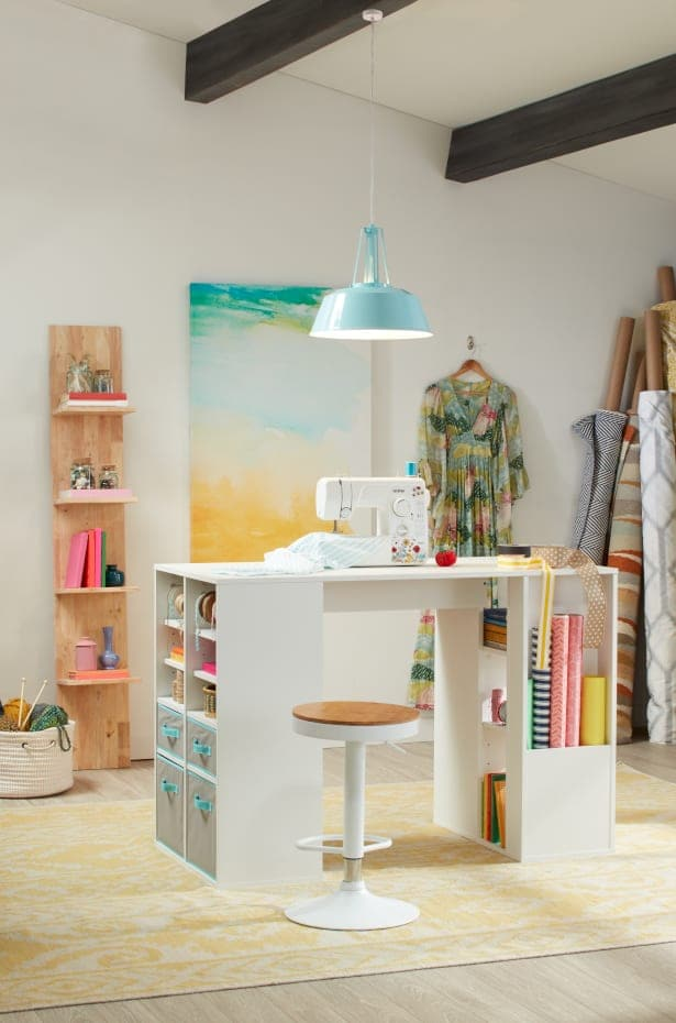 Craft table with organized open cubbies