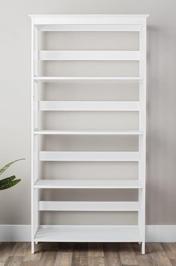 Empty White Bookshelf