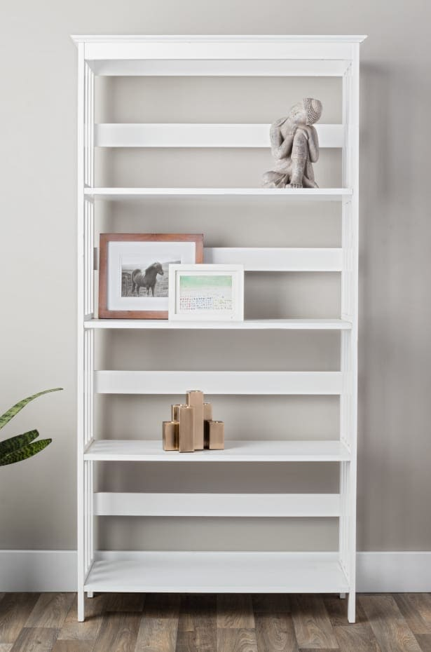 White Bookshelf With Some Decor on the Shelves